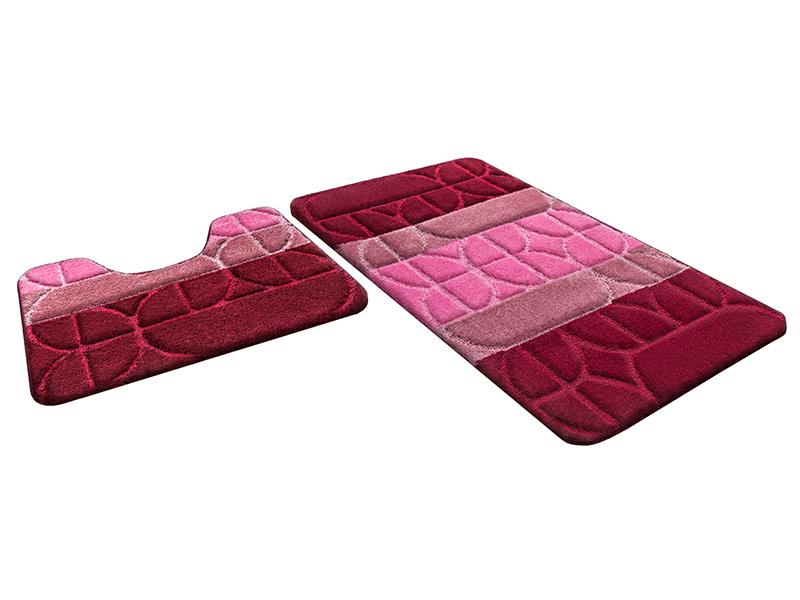 Набор ковриков для ванной РР MIX 4K бордовый, SHAHINTEX