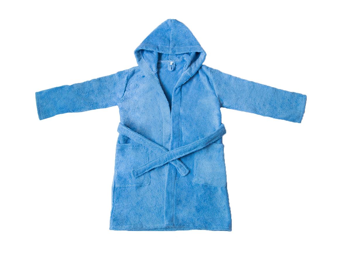 """Детский махровый халат с капюшоном, голубой, """"ЭГО"""""""