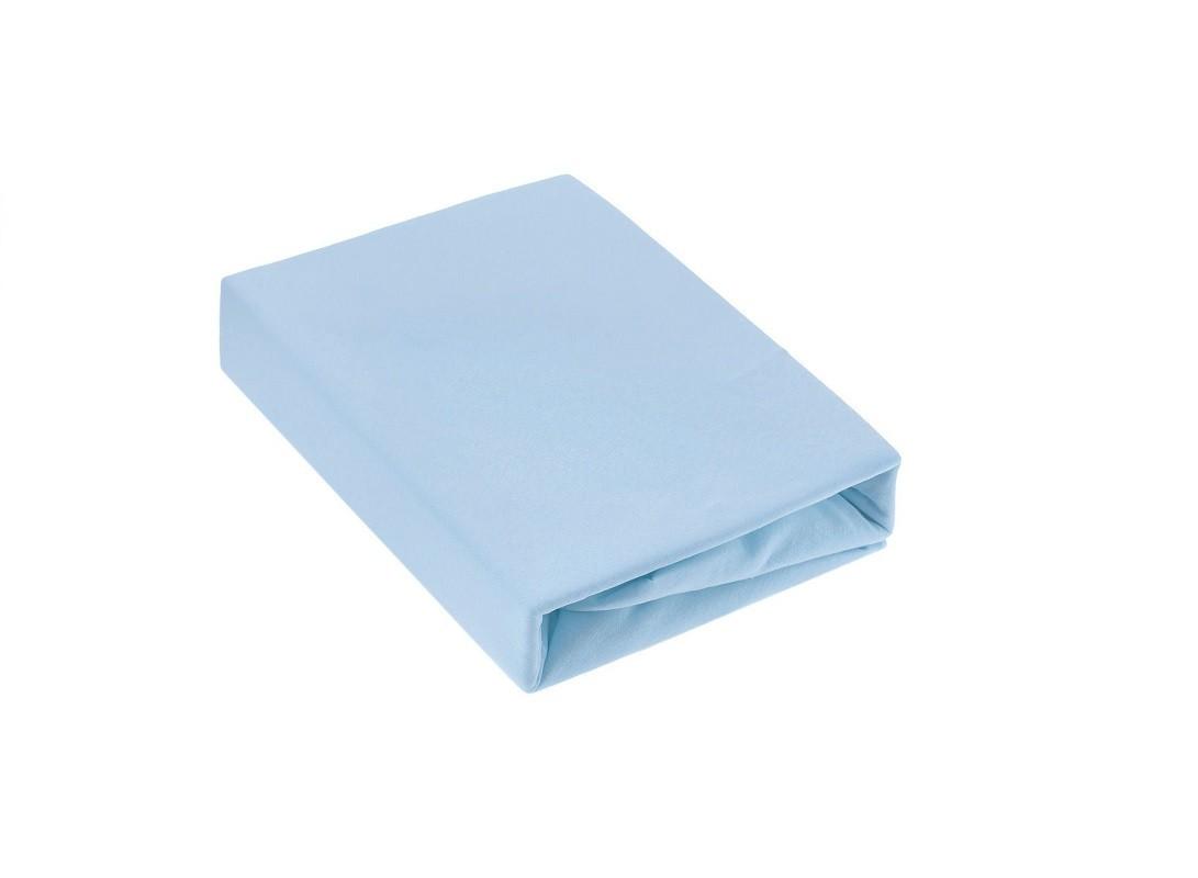 Простыня на резинке трикотажная голубая ЭГО