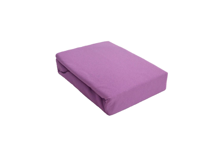 Простыня на резинке трикотажная фиолетовая ЭГО