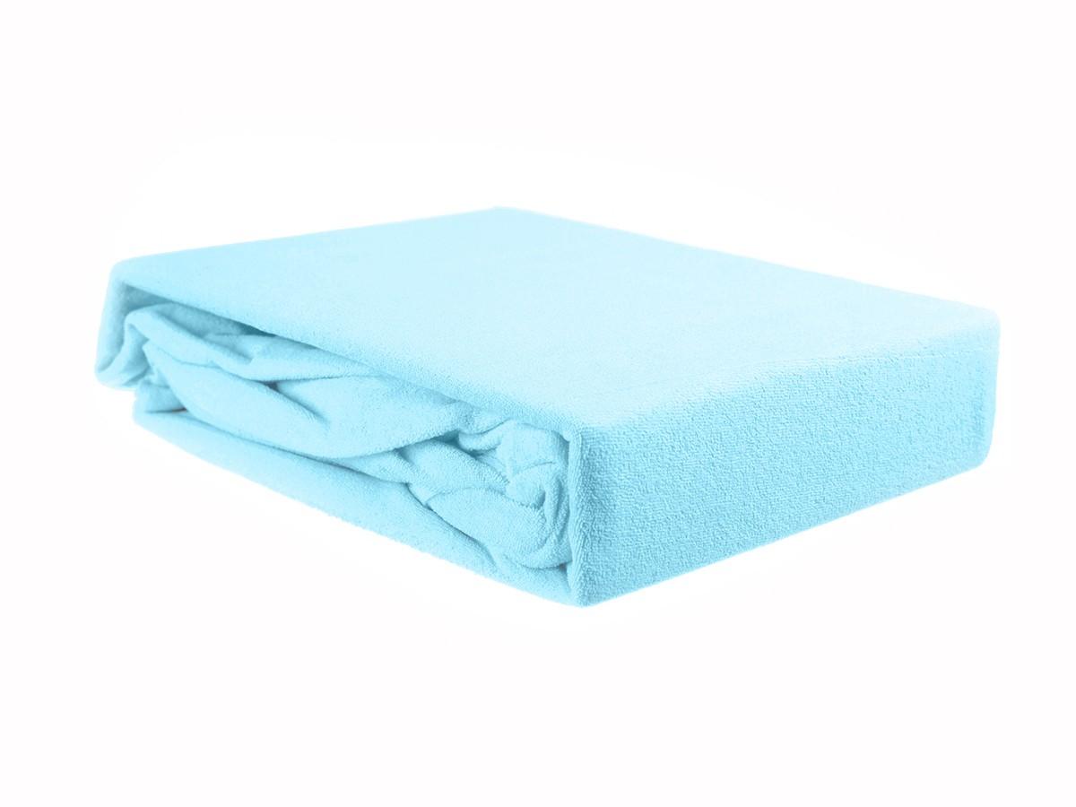 Простыня на резинке махровая голубая ЭГО