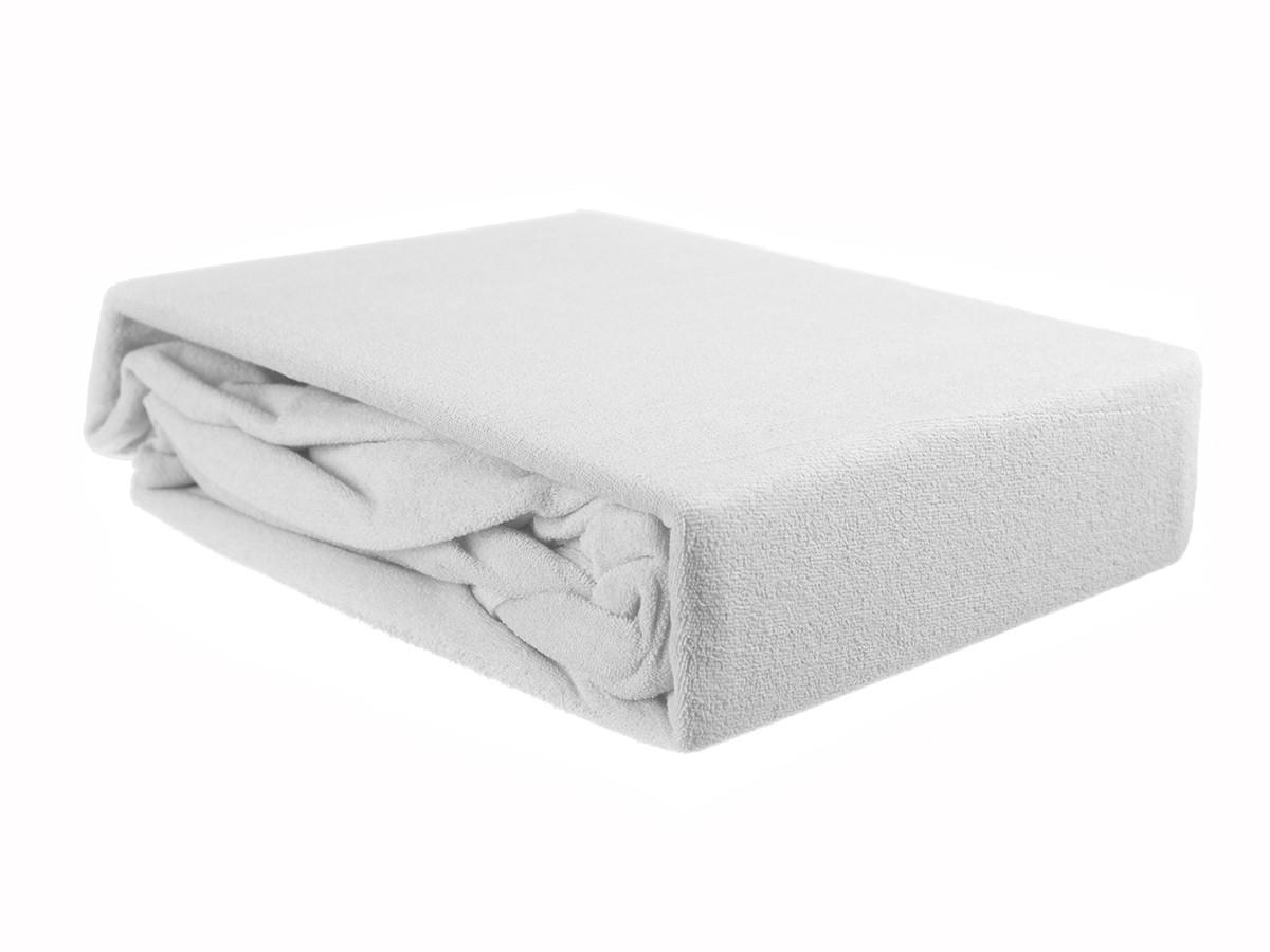Простыня на резинке махровая белая ЭГО