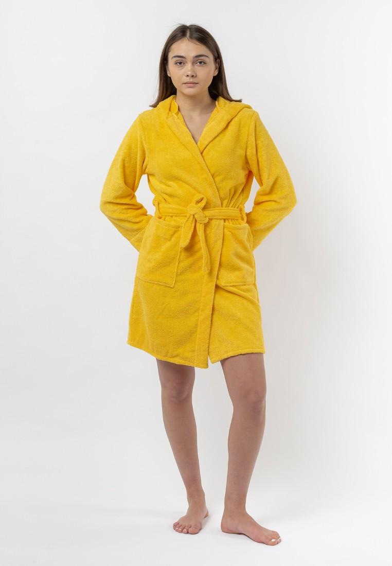 """Халат махровый женский с капюшоном, желтый, """"ЭГО"""""""
