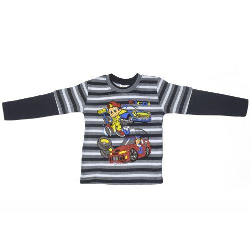 Джемпер для мальчика, цвет темно-синий/полоски с принтом, р.104, артикул KR-390