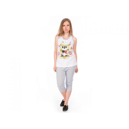 Пижама женская, цвет белый+набивка, размер S RAV