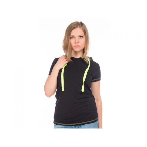 Футболка с капюшоном женская, цвет черный L, RAV