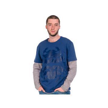 Футболка мужская, цвет синий+серый S, RAV