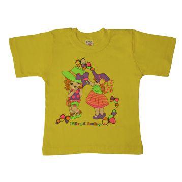 Футболка для девочки, цвет желтый с принтом, р.104 KIRPI