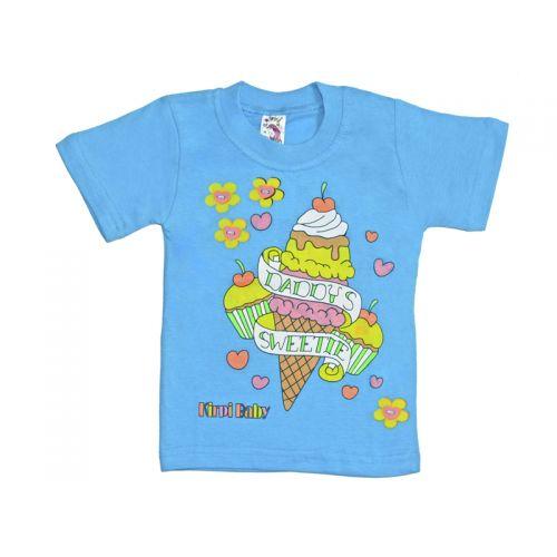 Футболка для девочки, цвет голубой с принтом, р.98 KIRPI