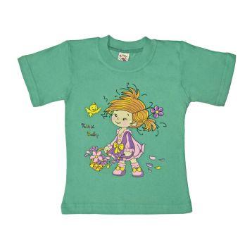 Футболка для девочки, цвет зеленый с принтом, р.86 KIRPI
