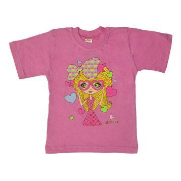 Футболка для девочки, цвет розовый с принтом, р.104 KIRPI