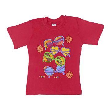 Футболка для девочки, цвет малиновый с принтом, р.98 KIRPI