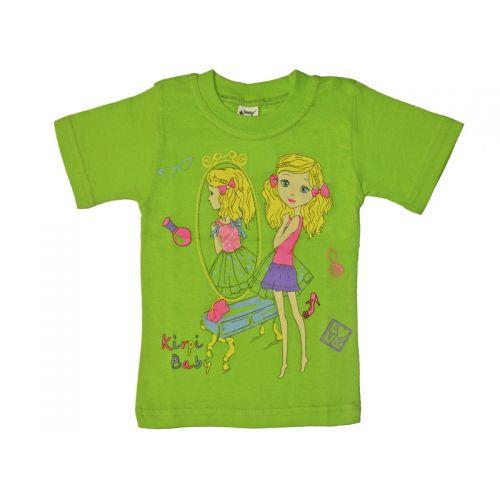 Футболка для девочки, цвет светло-зеленый с принтом, р.122 KIRPI