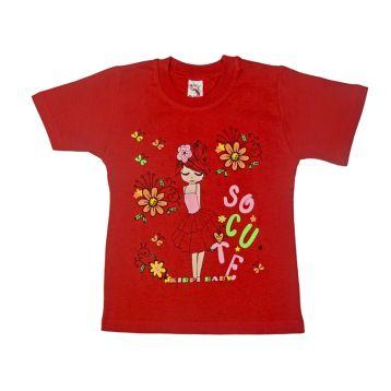 Футболка для девочки, цвет красный с принтом, р.110 KIRPI