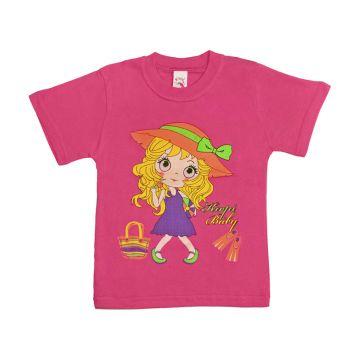 Футболка для девочки, цвет розовый с принтом, р.110 KIRPI