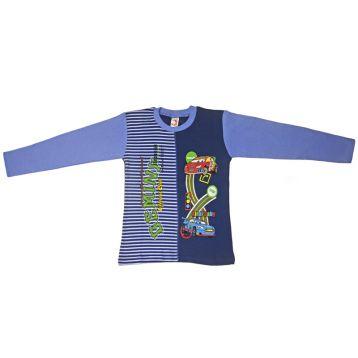 Джемпер для мальчика, цвет голубой/темно-синий с принтом, р.110 KIRPI