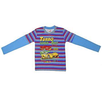 Джемпер для мальчика, цвет голубой/полоски с принтом, р.110 KIRPI