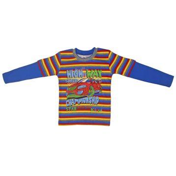 Джемпер для мальчика, цвет голубой/полоски с принтом, р.92 KIRPI