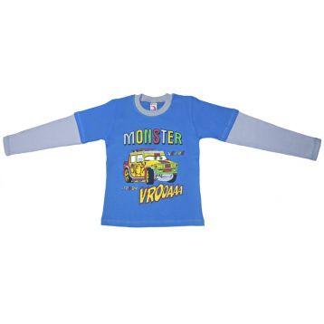 Джемпер для мальчика, цвет голубой/серый с принтом, р.110 KIRPI