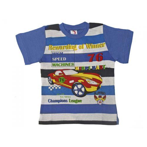 Футболка для мальчика, цвет темно-голубой/цветная полоска с принтом, р.98 KIRPI