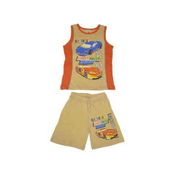 Комплект для мальчика, цвет бежевый/оранжевый с принтом, р.110 KIRPI