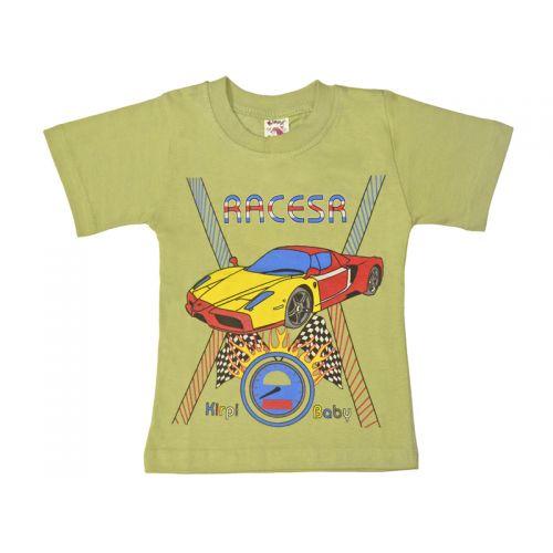 Футболка для мальчика, цвет оливковый с принтом, р.98 KIRPI