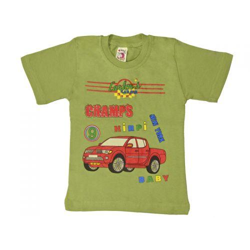 Футболка для мальчика, цвет оливковый с принтом, р.104 KIRPI