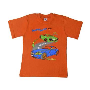 Футболка для мальчика, цвет оранжевый с принтом, р.122 KIRPI