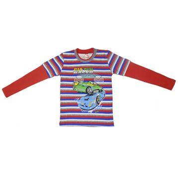 Джемпер для мальчика, цвет красный/полоски с принтом, р.110 KIRPI