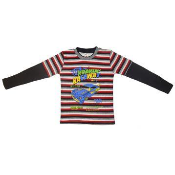 Джемпер для мальчика, цвет черный/полоски с принтом, р.110 KIRPI