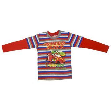 Джемпер для мальчика, цвет красный/полоски с принтом, р.98 KIRPI