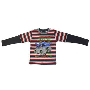 Джемпер для мальчика, цвет черный/полоски с принтом, р.98 KIRPI