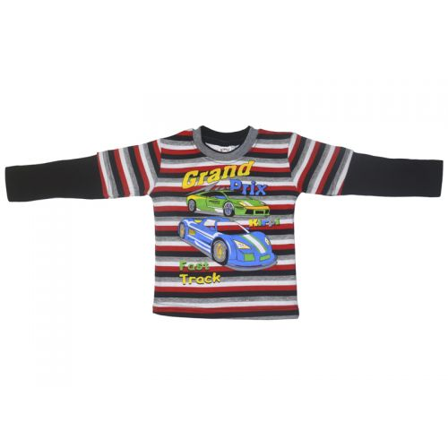 Джемпер для мальчика, цвет черный/полоски с принтом, р.92 KIRPI