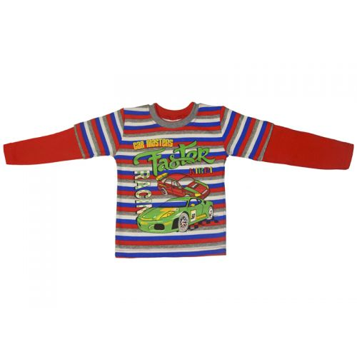 Джемпер для мальчика, цвет красный/полоски с принтом, р.92 KIRPI