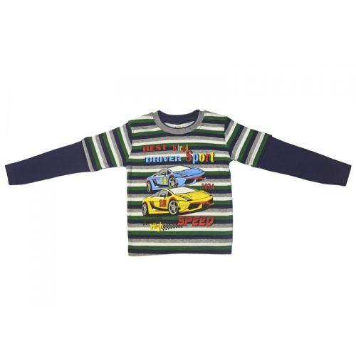 Джемпер для мальчика, цвет темно-синий/полоски с принтом, р.92 KIRPI