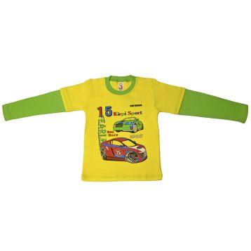 Джемпер для мальчика, цвет желтый/светло-зеленый с принтом, р.110 KIRPI