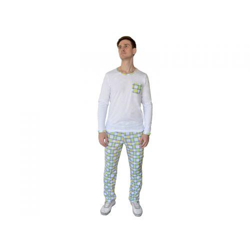 Пижама мужская, цвет белый+клетка XXL, RAV