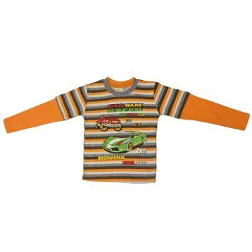 Джемпер для мальчика, цвет оранжевый/полоски с принтом, р.92 KIRPI