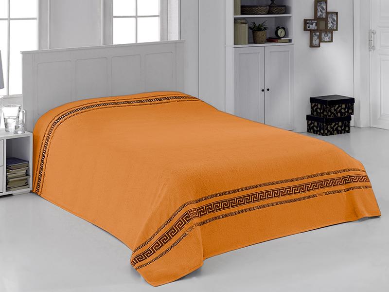 "Махровая простыня ""Грек оранжевый"" 160х220 бамбук, CORONET"