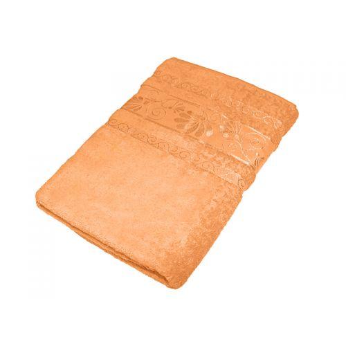 """Купить Махровое полотенце """"Цветы"""" персиковое 70х140, AISHA по цене от 579 Р. с доставкой"""