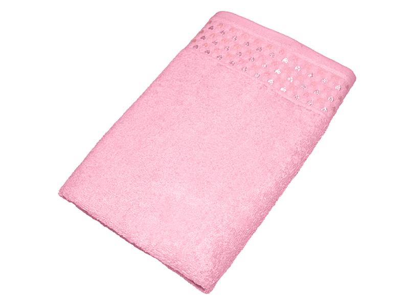 """Махровое полотенце """"Сердечки"""" розовое 50х90, AISHA"""