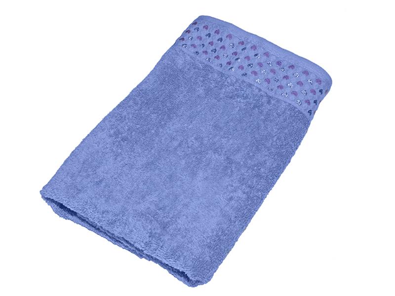 "Махровое полотенце ""Сердечки""синее 50х90, AISHA"
