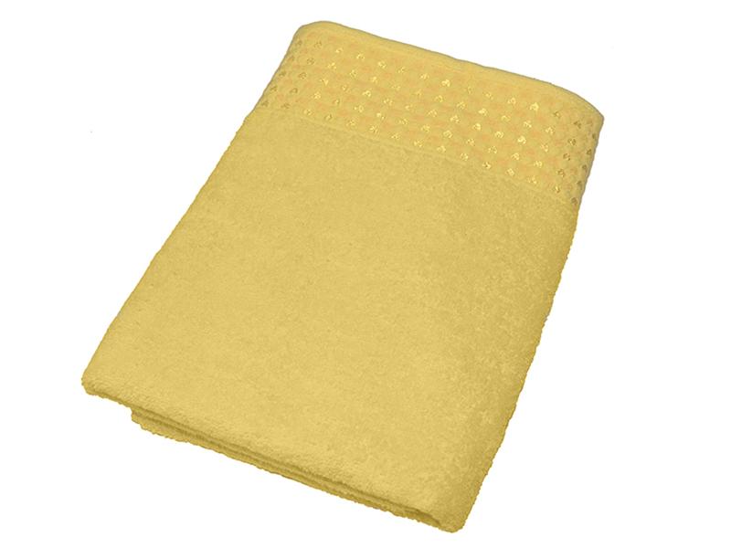 "Махровое полотенце ""Сердечки"" желтое 70х140, AISHA"