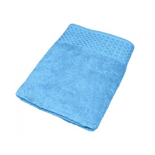 """Купить Махровое полотенце """"Сердечки"""" голобое 70х140, AISHA по цене от 579 Р. с доставкой"""