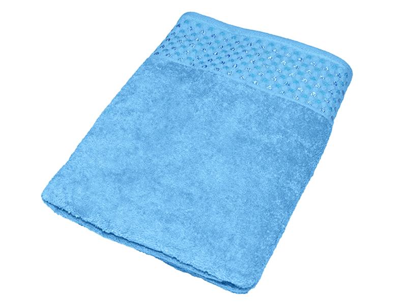 "Махровое полотенце ""Сердечки"" голобое 70х140, AISHA"