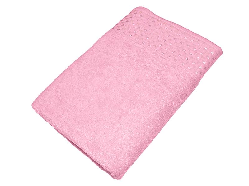 """Махровое полотенце """"Сердечки"""" розовое 70х140, AISHA"""