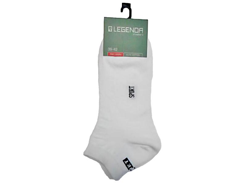 Носки мужские короткие белые, хлопок/эластан, LEGENDA