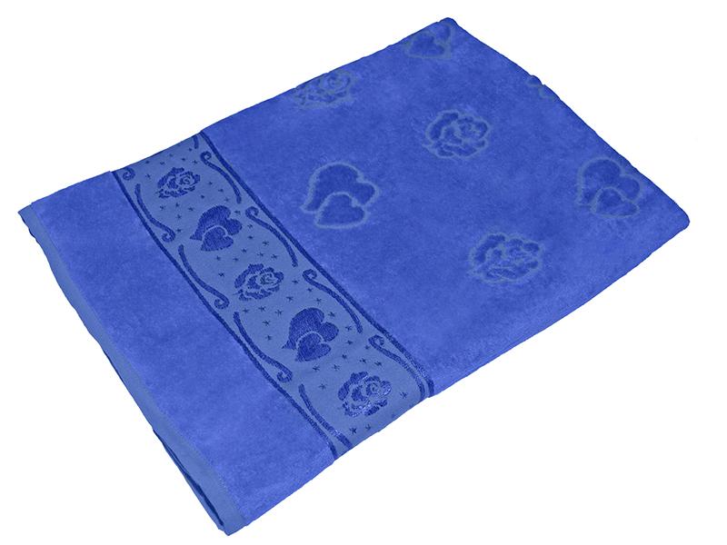 Полотенце синее махра/велюр 100х150 хлопок, AISHA