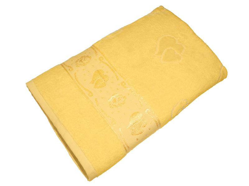 Полотенце желтое махра/велюр 70х140 хлопок, AISHA