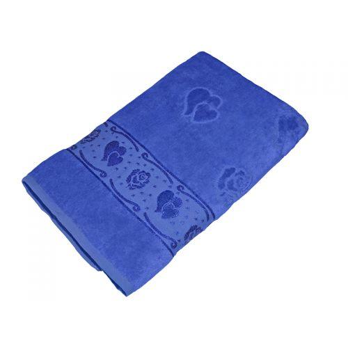 Купить Полотенце синее махра/велюр 70х140 хлопок, AISHA по цене от 529 Р. с доставкой